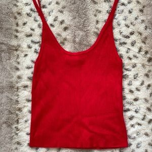 Bright red tank top